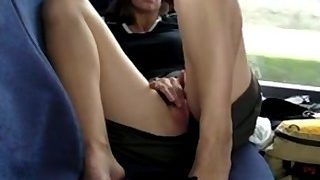 Girl fingering in a bus